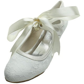 Elegant Park Lace Ivory Round Toe Canvas Mary Janes