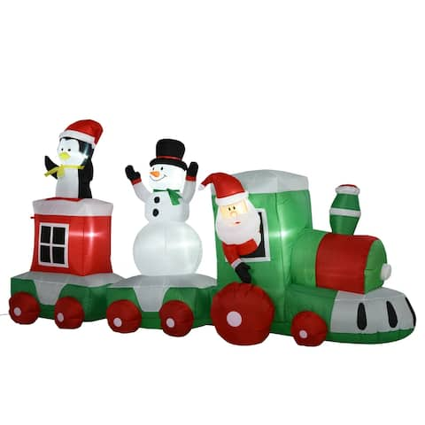 HOMCOM 11' Long Christmas Inflatable Train with LED Lights Santa Claus Snowman Penguin for Holiday Yard Decoration