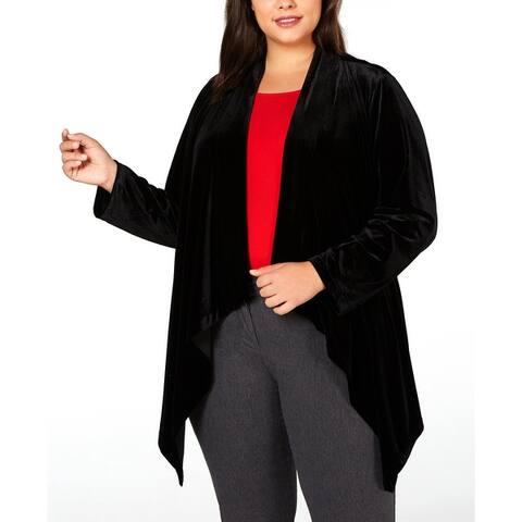 Calvin Klein Womens Blazer Velvet Flyaway - Black