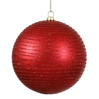 "Red Hot Glitter Striped Shatterproof Christmas Ball Ornament 4.75"" (120mm)"