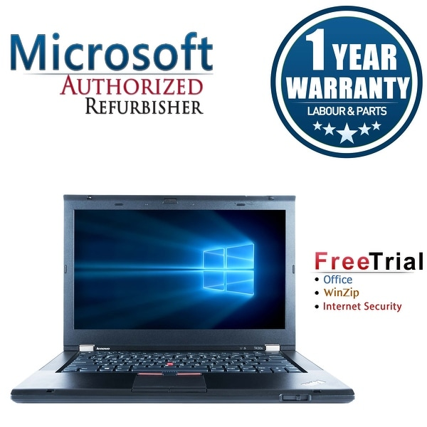 "Refurbished Lenovo ThinkPad T430S 14.0"" Intel Core i5-3320M 2.6GHz 4GB DDR3 320GB DVD Win 10 Pro 64 (1 Year Warranty) - Black"