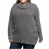 Lucky Brand Gray Alyssa Cowl-Neck Women's Size 1X Plus Sweater