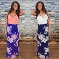 Womens Casual Summer Floral Side Slit Maxi Beach Tank Dress Sundress - Thumbnail 4