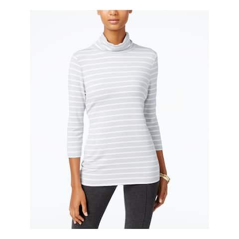 ALFANI Womens Gray Striped 3/4 Sleeve Turtle Neck Top Size XS