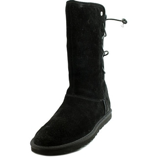 Ugg Australia Lo Pro Lace Up Women  Round Toe Suede Black Mid Calf Boot