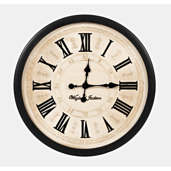 Wayland Jackson Engraved Solid Wood Cream 30-inch Clock by Jofran. Opens flyout.