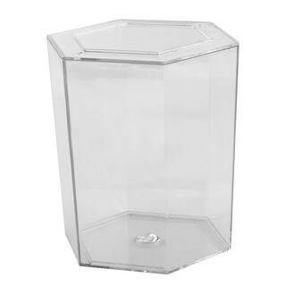 Aquarium Fish Bowl Plastic Hexagon Shaped Betta Tank Clear 12.2cm Height