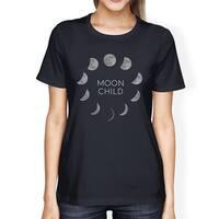 Moon Child Tshirt Womens Navy Short Sleeve T-Shirt For Halloween