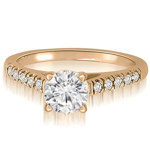 0.65 cttw. 14K Rose Gold Cathedral Round Cut Diamond Engagement Ring