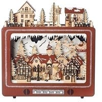 Set of 2 LED Christmas TV Scene Laser Cut Decorative Table Top Decorations - brown