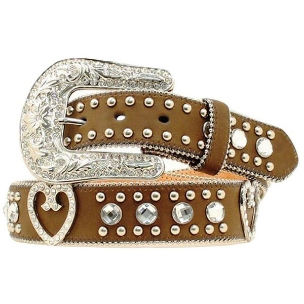 Blazin Roxx Western Belt Womens Crystal Heart Rich Earth