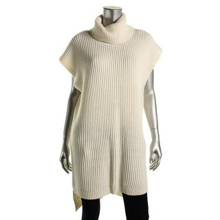 DKNY Womens Ribbed Knit Hi-Low Pullover Sweater