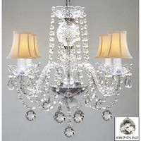 Murano Venetian Style All Crystal Chandelier Lighting With Crystal Balls & White Shades
