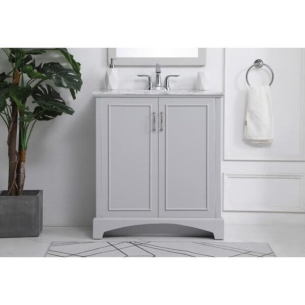 30-inch bathroom vanity. Opens flyout.