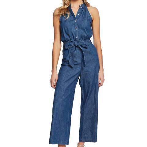 CeCe Womens Denim Jumpsuit Blue Size 8 Button Front Tie Waist Wide Leg