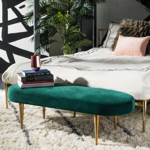 "SAFAVIEH Couture Corinne Velvet Oval Bench- Emerald / Gold - 48.4"" W x 18.3"" L x 15.8"" H"