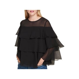 Tommy Hilfiger Womens Blouse Tiered Keyhole