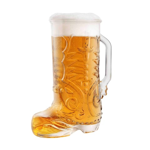 Product Specialties Cowboy Boot Glass Mug - 22oz Wild West Glass Beer Boot Mug (1.3 Pints, 650ml) - 7.2 in. x 5.5 in.x 3.4 in.