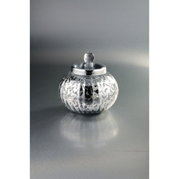 """8.5"""" Silver Weathered Hand Blown Glass Jar with Finial Lid - N/A"""