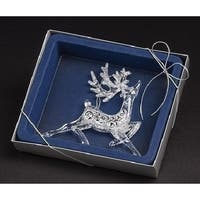 "6.5"" Blue Boxed Clear and Silver Glittered Fancy Deer Christmas Ornament"