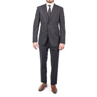 Luciano Barbera Men Two Button Wool Suit Navy Black