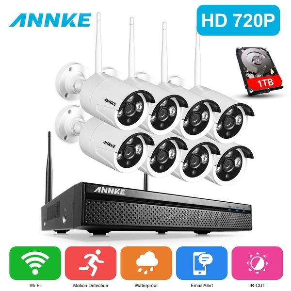ANNKE 8CH 720P HD Wi-Fi Network Wireless Video Cameras Security System