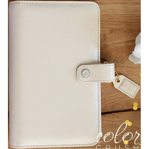 """Color Crush Faux Leather Personal Planner Binder 5.25""""X8""""-Natural"""