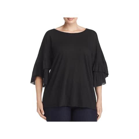 Elan Womens Plus T-Shirt Sheer Ruffle Sleeve