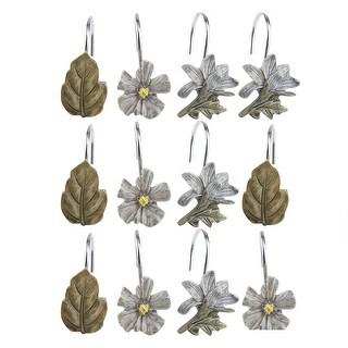 Image Shower Curtain Hooks Rings Set of 12 Home Leaf Leaves Retro Flower Plant Hooks