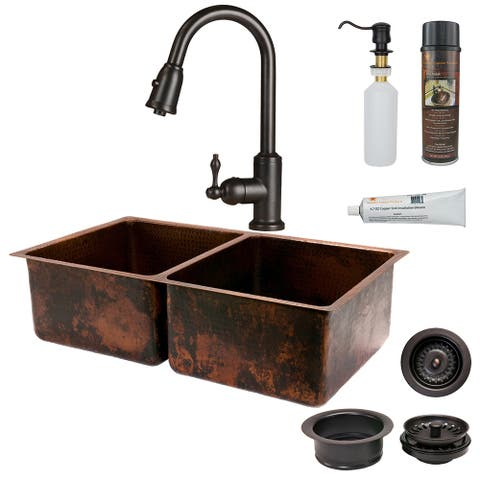 Premier Copper Products KSP2_K50DB33199 Kitchen Sink, Pull Down Faucet and Accessories Package