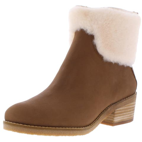Lucky Brand Womens Tarina Ankle Boots Wool Stacked J - Cedar Woodland