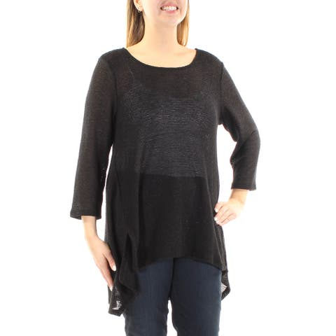ALFANI Womens Black 3/4 Sleeve Jewel Neck Hi-Lo Sweater Size L