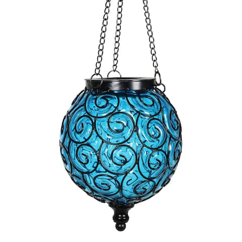 Exhart Solar Round Glass and Metal Hanging Lantern with 15 LED Fairy Firefly String Lights, 7 by 21 Inches