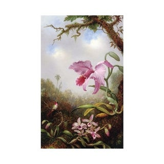 Easy Art Prints Martin Johnson Heade's 'Hummingbird and Two Types of Orchids' Premium Canvas Art