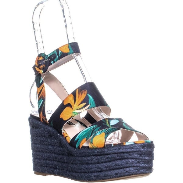 127e854a2f7 Nine West Kushala Espadrilles Platform Wedge Sandals, Navy Multi - 7 us