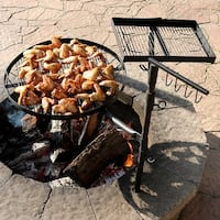 Sunnydaze Steel Heavy Duty Dual Fire Pit Campfire Cooking Grill System