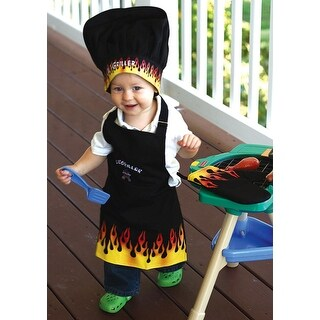 """3-Piece """"Lil' Griller"""" Embroidered Child Chef's Apron, Hat and Pot Holder Set"""