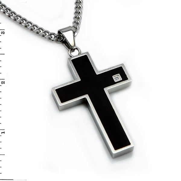 Black Stainless Steel Cross Pendant - 24 inches