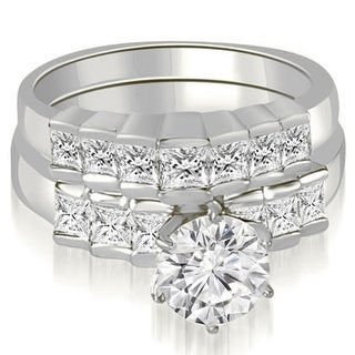 2.10 CT.TW Princess and Round Cut Diamond Bridal Set in 14KT White gold - White H-I
