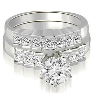 2.35 CT Ladder Princess & Round Cut Diamond Bridal Set in 14KT Gold - White H-I