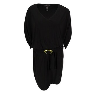 Style & Co. Women's 3/4 Sleeve Belted Dress - Black Diamond - XxL