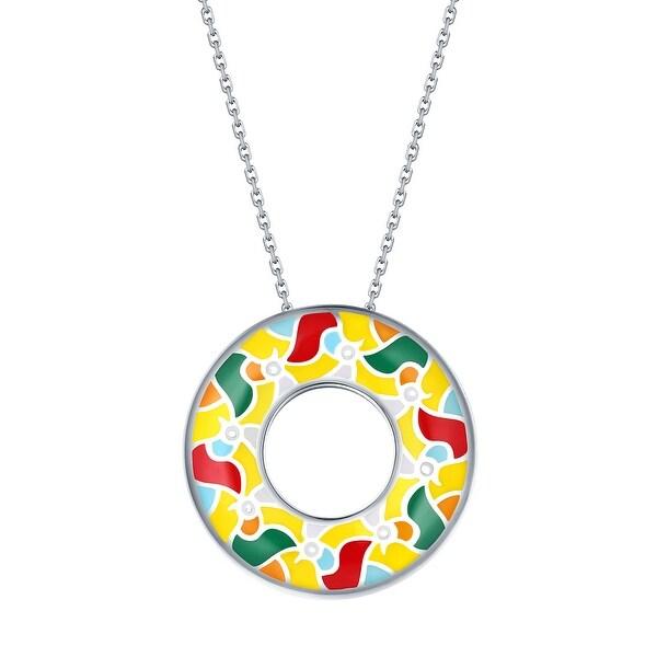 Vedantti Madhubani Art Multi Color Enamel Peacock Open-Circle Pendant