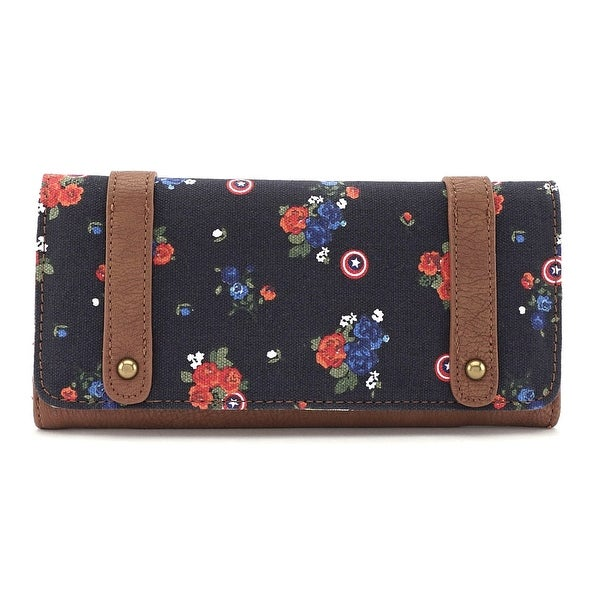 Shop Loungefly Marvel Captain America Floral And Shield Wallet - One Size  Fits most - Free Shipping On Orders Over  45 - Overstock - 17490037 c6581c19e3654