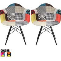 2xhome - Set of 2 Plastic Chair Dining Chairs Fabric Patchwork Wood Multi-color Black Wood Leg Home Restaurant Office Designer