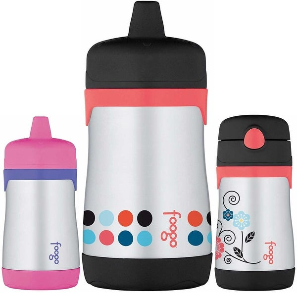 Thermos Insulated S/S 2 10 oz Hard Spout Sippy Cup / Straw Drink Bottle