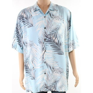 Tommy Bahama Gray Mens Leaf Print Hawaiian Shirt