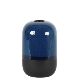 Cylindrical Sto are Vase With Black Banded Rim Bottom, Small, Glossy Blue