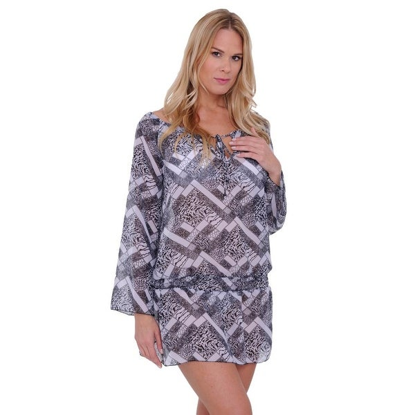 Women's Beach Dress Cover Up Chiffon Long Sleeve Printed Swimwear