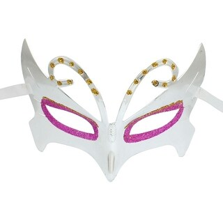 Unique Bargains Cosplay Party Magenta Yellow Powders Detail Silver Tone Plastic Eye Mask