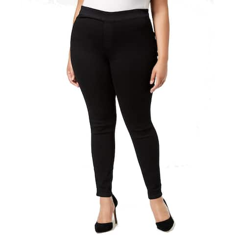 Celebrity Pink Women's Black Size 16 Plus Pull On Skinny Pants Stretch
